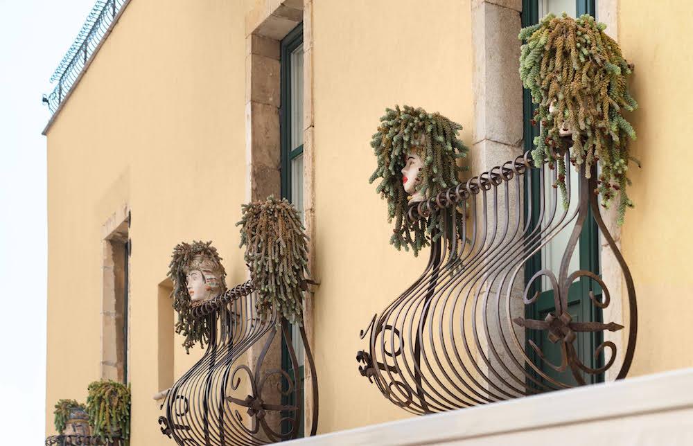 Close up of Juliet balconies in Italy