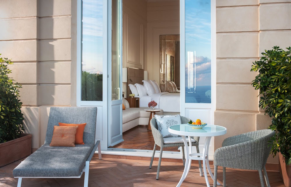Image of terrace and guestroom at Four Seasons in Sicily