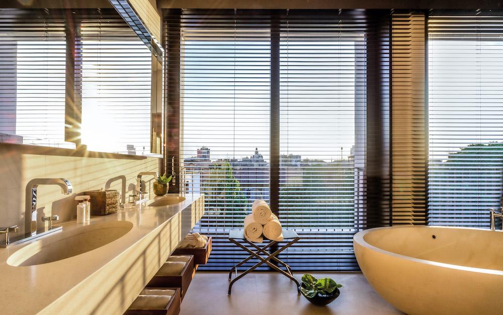 Luxury bathroom inside the suite at Bvglari Hotel Milan