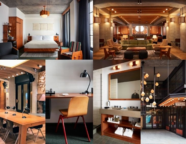 Collage of interior images of inside the Ace Hotel Brooklyn