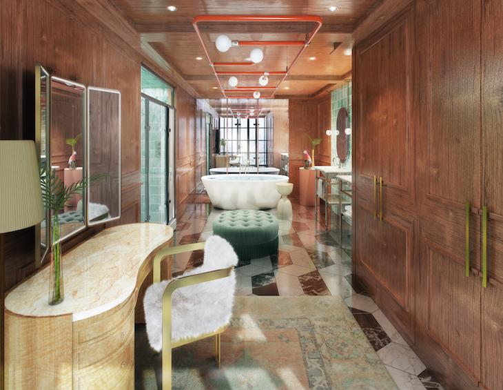 A bathroom inside Virgin Hotels New Orleans