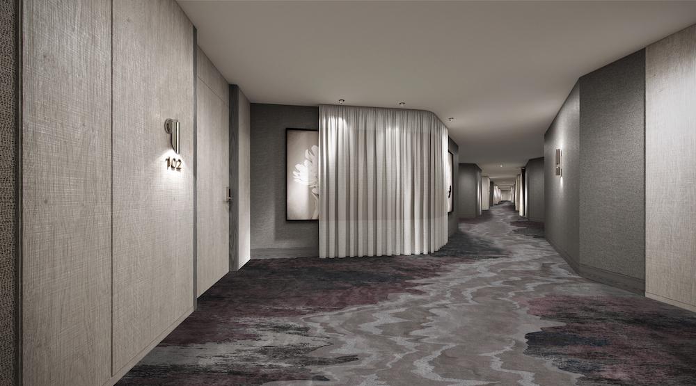 Sophisticated hotel corridor rendering