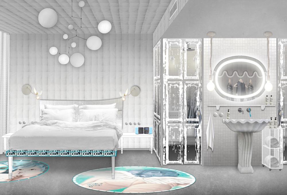 Render of white bedroom