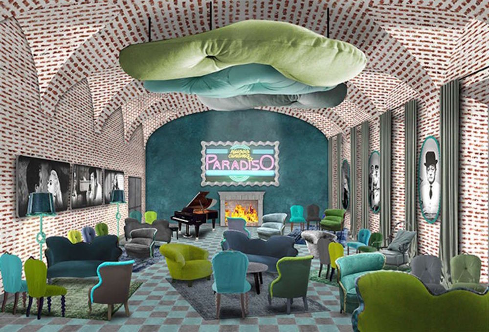 Render of green and blue lobby/lounge