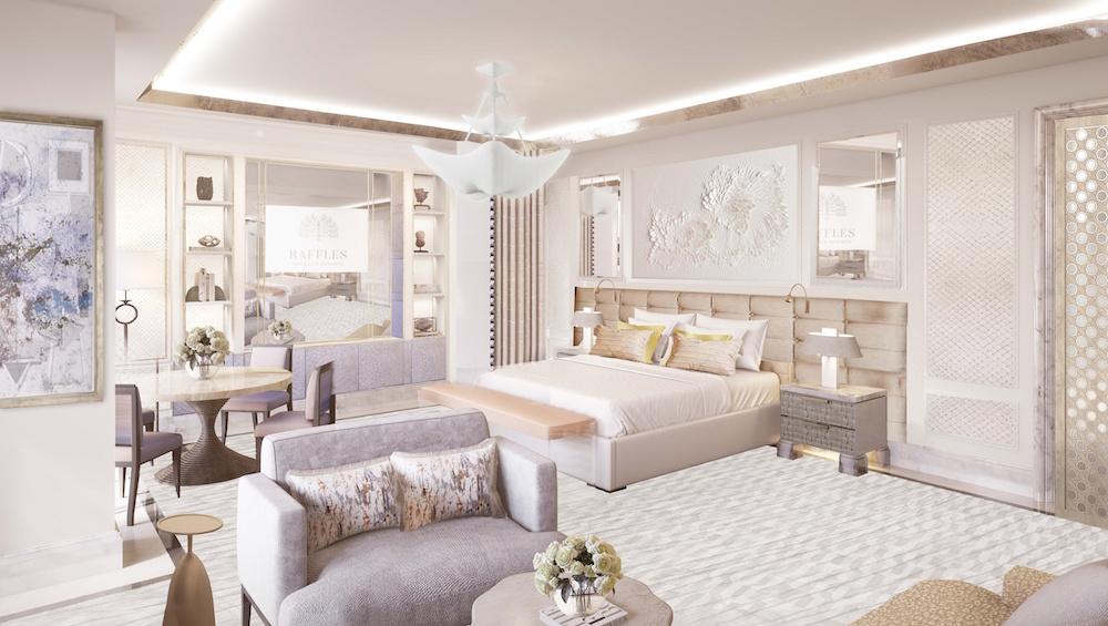 Image caption: Render of suite inside Raffles Jeddah, Kingdom of Saudi Arabia