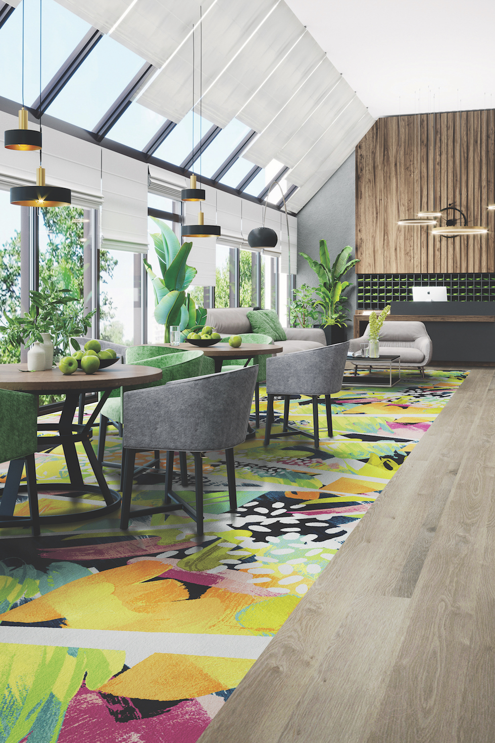 Modern bright lobby interior with panoramic windows, dinning tables, reception desk, wooden floor, interior of hotel or fitness center lobby , 3d rendering