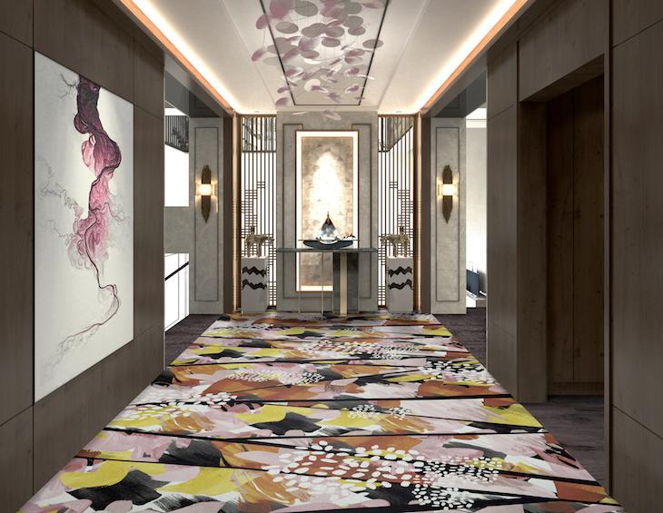 3d illustration of modern hotel corridor .