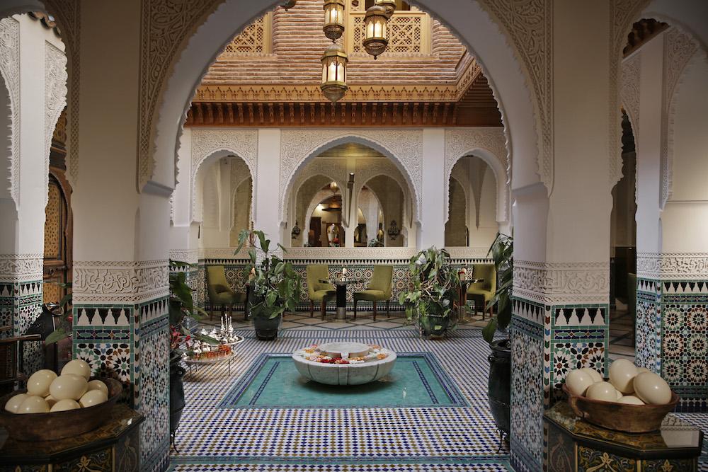 Tiled lobby inside Riad Elegancia