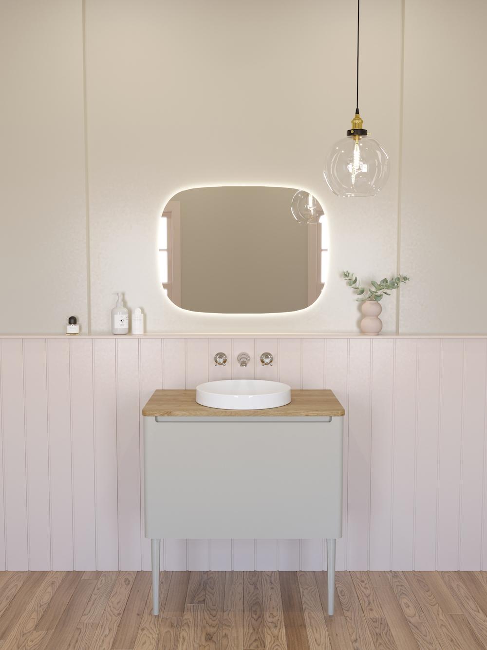 A muted bathroom scene