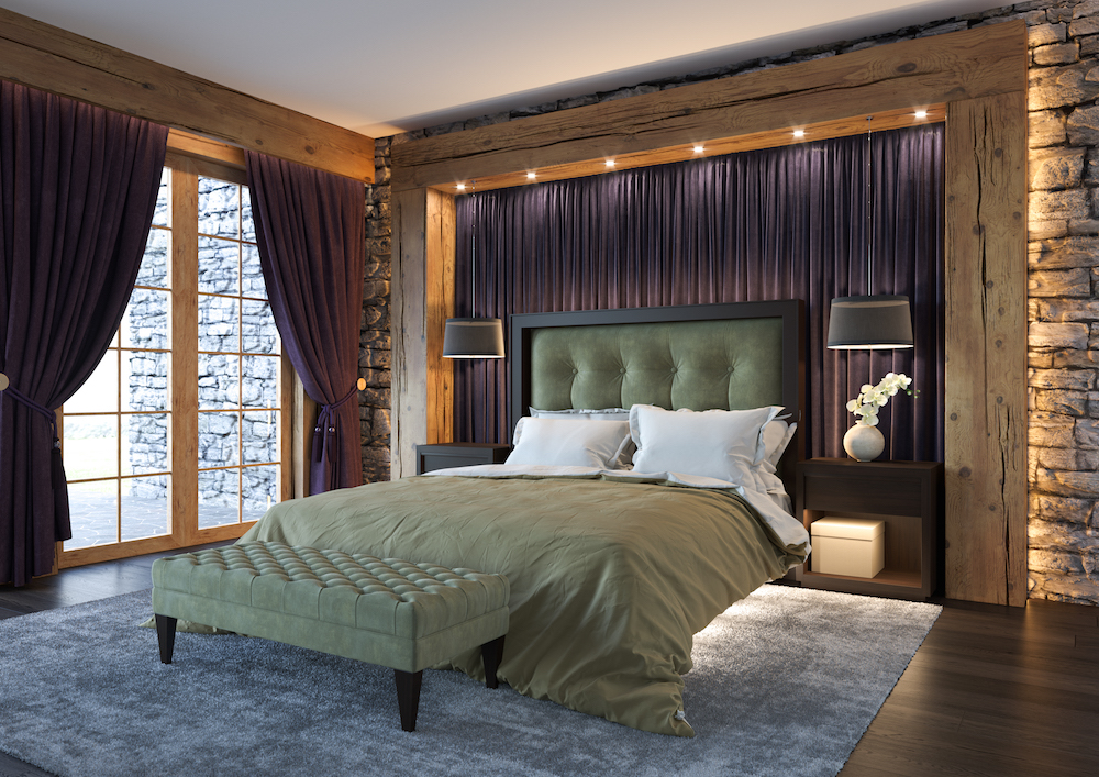 Bedroom with lighted headboard