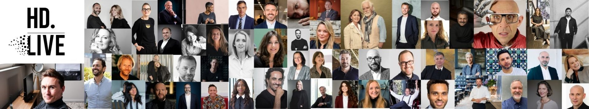 A collage of the designers, architects and hospitality experts, from all corners of the globe, who participated as Hotel Designs LIVE speakers.