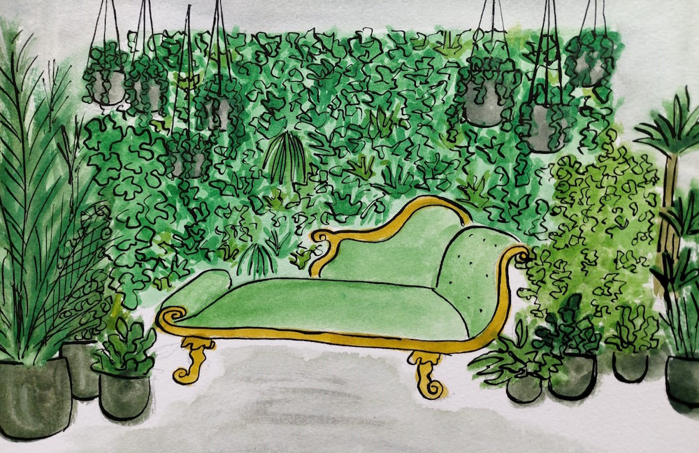 A sketch of a chaise lounge surrounded by plants