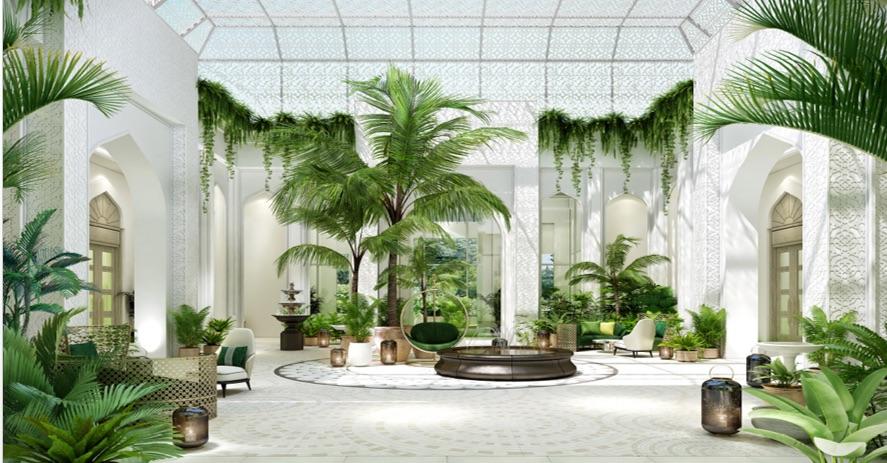 Image caption: Render of the lobby inside Raffles Al Areen Palace