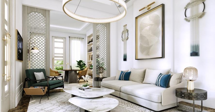 Image caption: Render of a suite inside Raffles Al Areen Palace