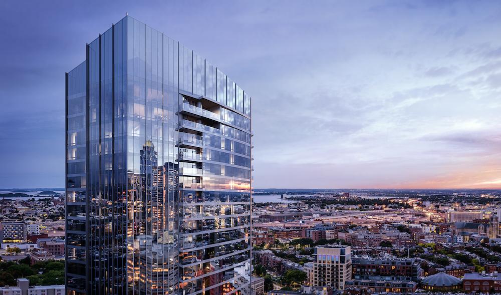 Image caption: Exterior render of Raffles Boston Back Bay Hotel & Residences. | Image credit: Binyan Studios