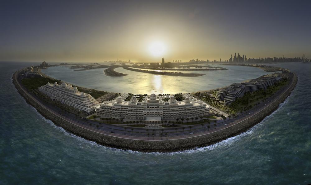 Image caption: An aerial shot of Raffles The Palm Dubai