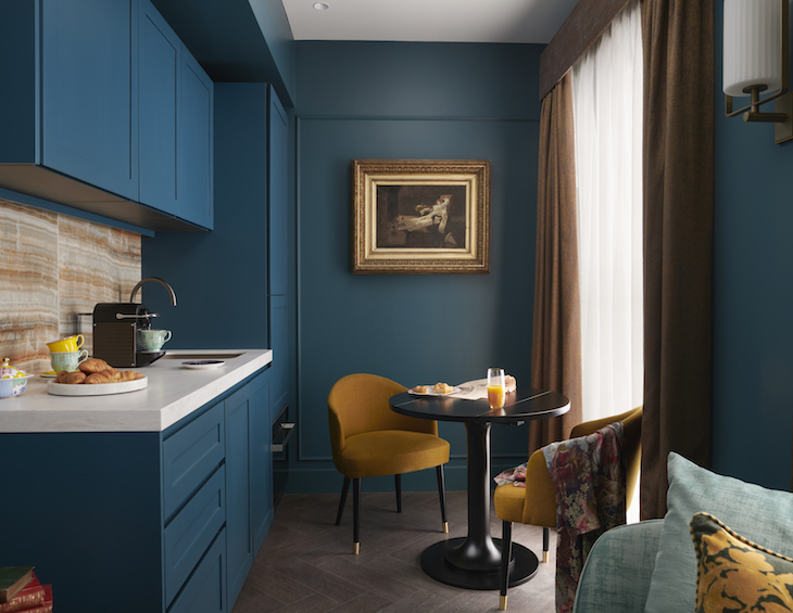 The Other House Club Flat Kitchen in blue and mustard