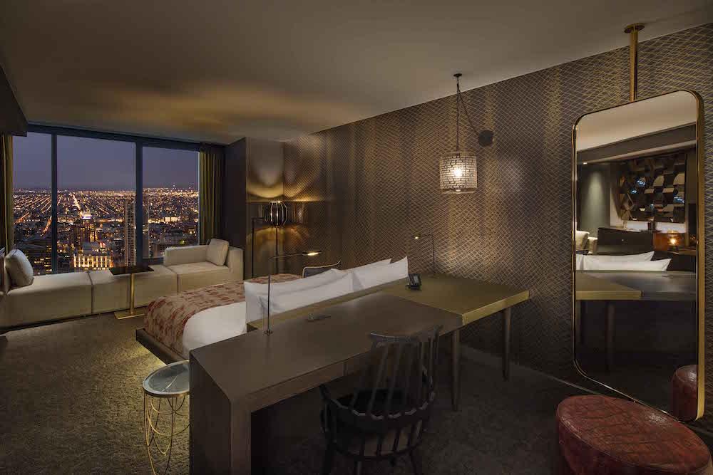 Guestroom over looking the city of Philadelphia