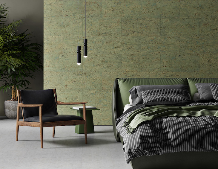 A green-toned bedroom, with cork walls from Granorte