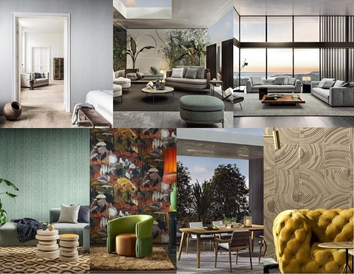 Collage of furniture and wallcoverings