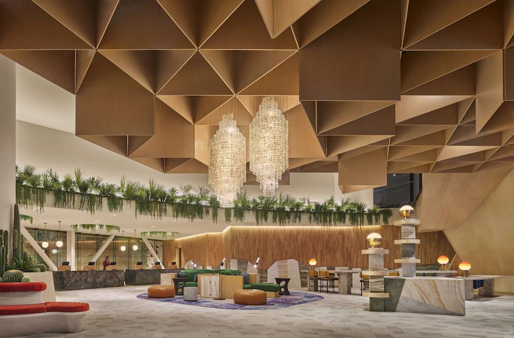 Image caption: Check-in lobby inside Virgin Las Vegas. | Image credit: Nikolas Koenig