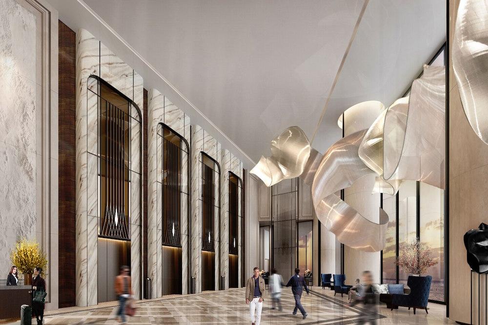 Lobby Chandelier inside St. Regis Qingdao