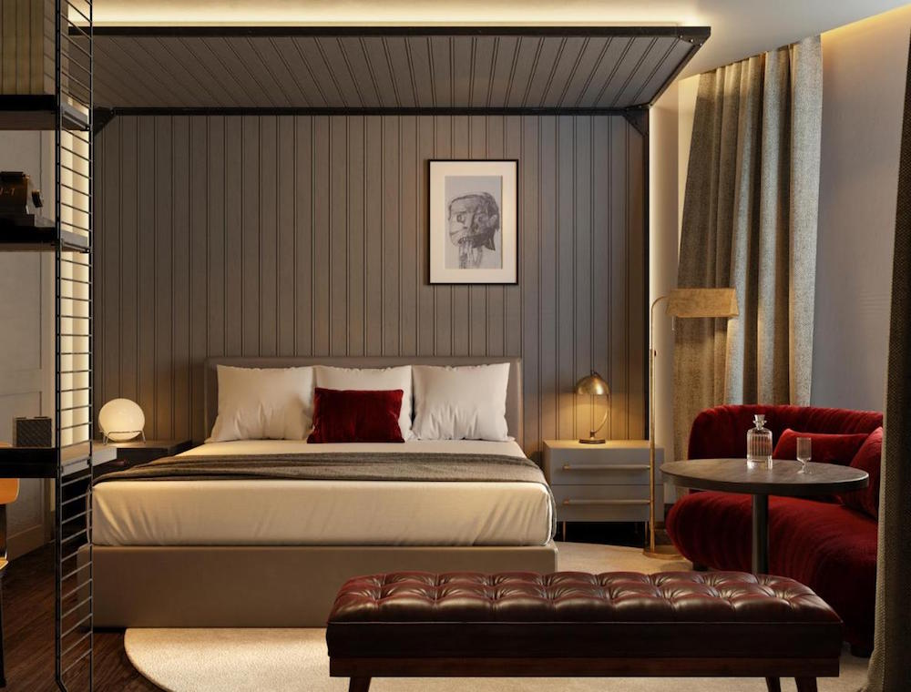 Render of contemporary guestroom inside Madrid Canopy by Hilton