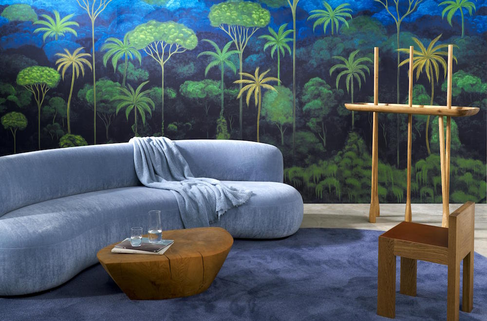 Blue and green tropical wallcovering