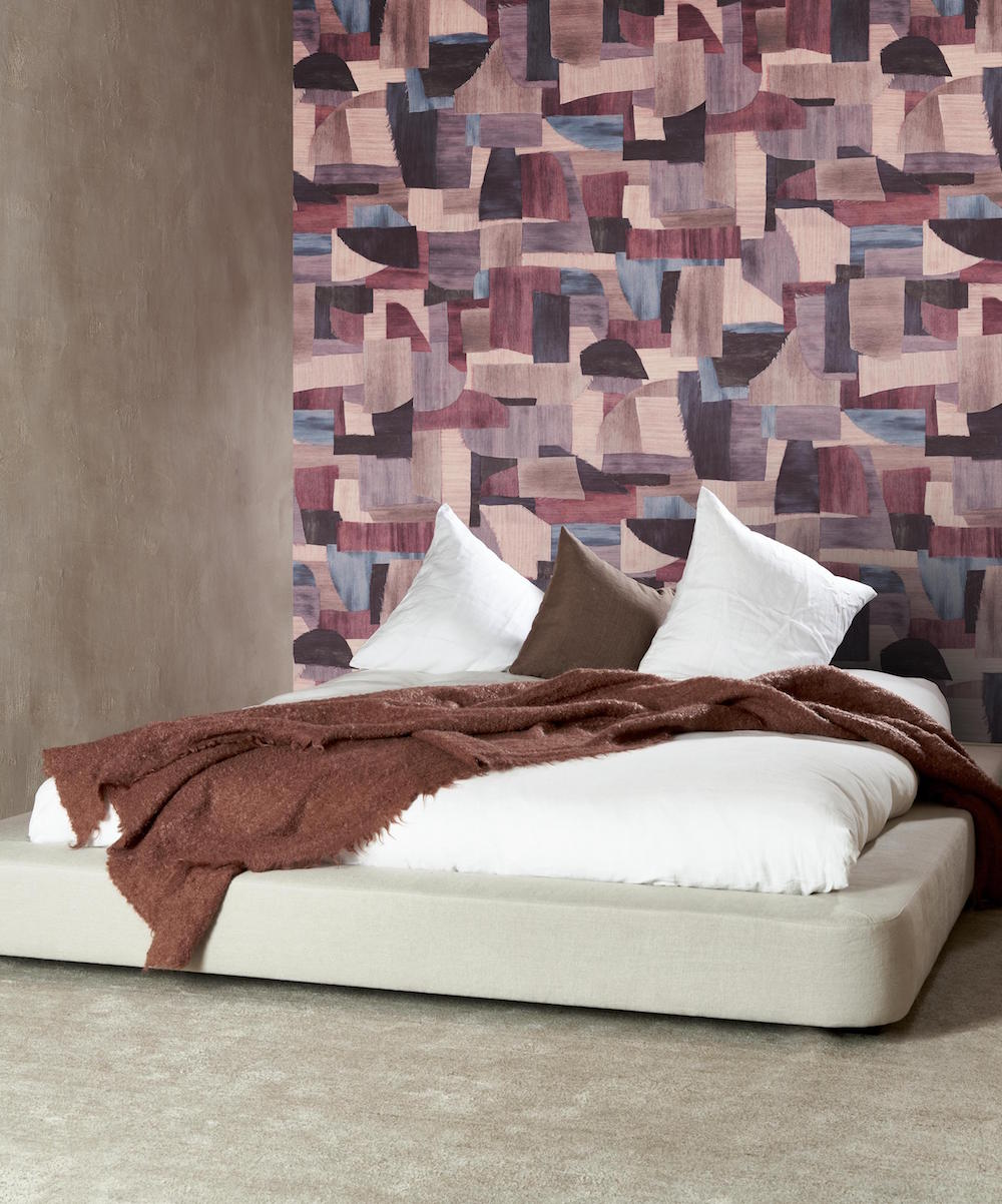 Red and pink geometric wallcoverings