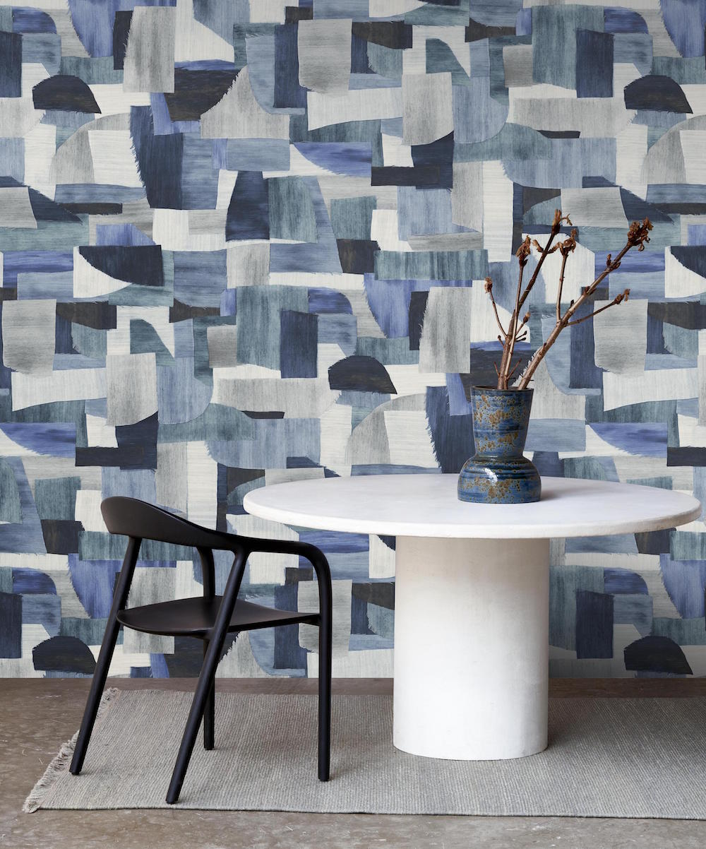 Blue and white geometric wallcovering