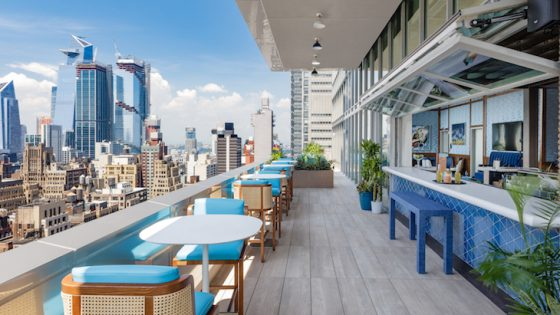 Terrace from hotel, overlooking New York