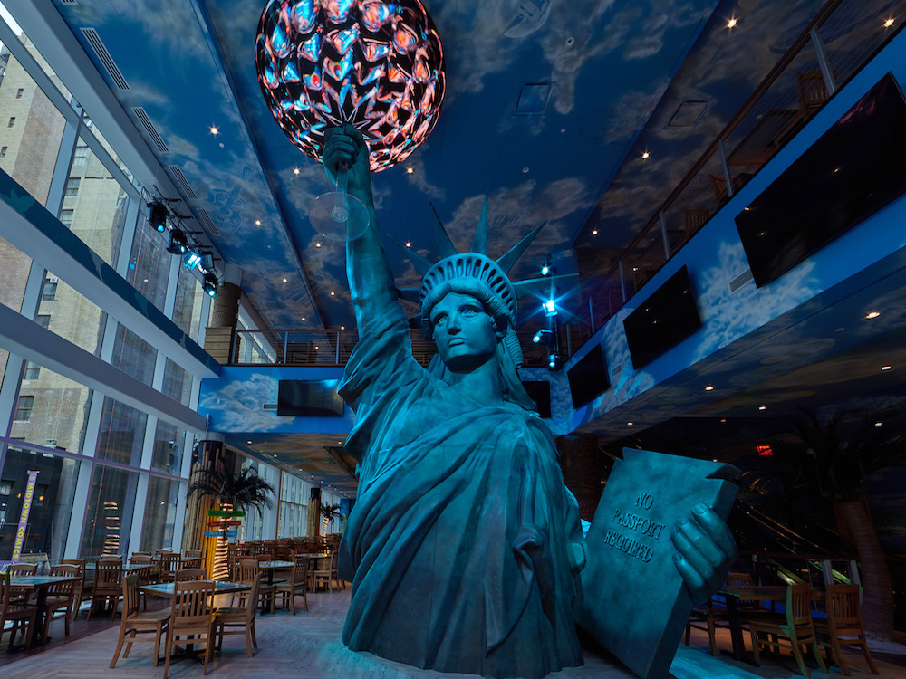 A Statue of Liberty statue in restaurant