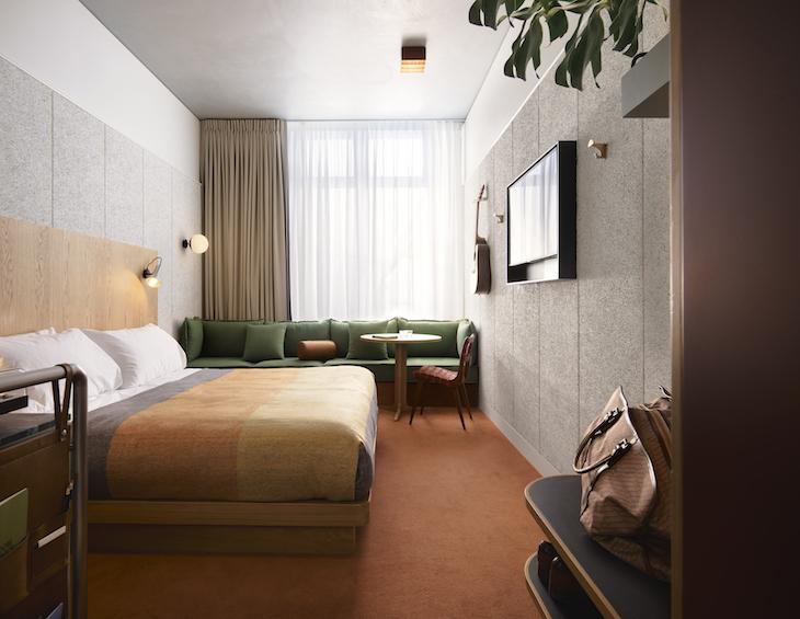 A subdued design scheme inside Ace Hotel Sydney guestroom