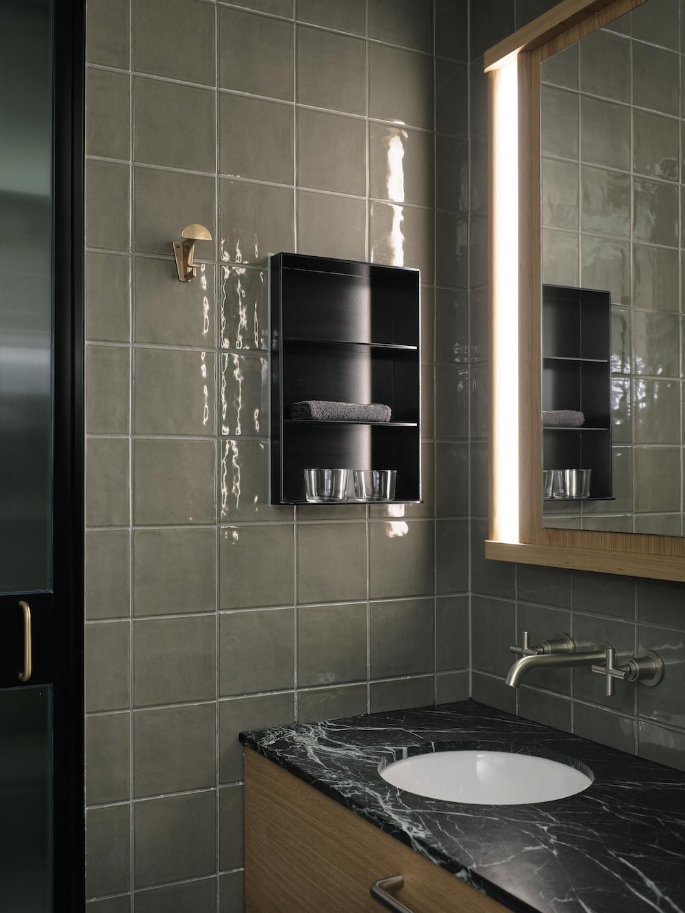 Tiled bathroom inside Ace Hotel Sydney