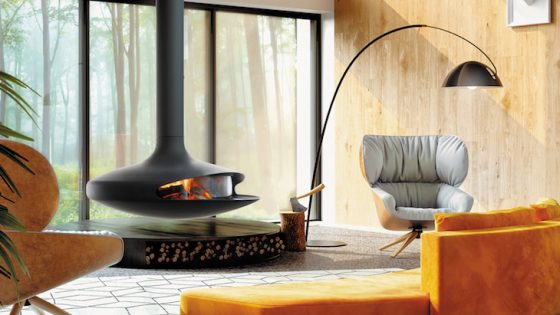 Hotel Designs | matt black fireplace in modern lounge with yellow seating
