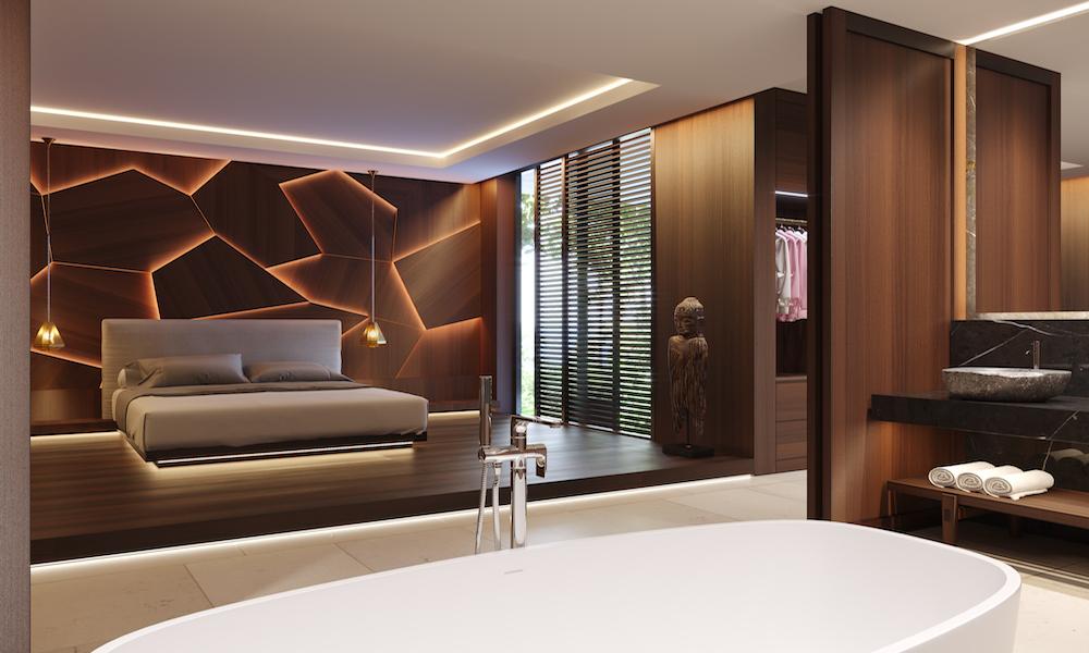 A creative, geometric headboard in modern bedroom