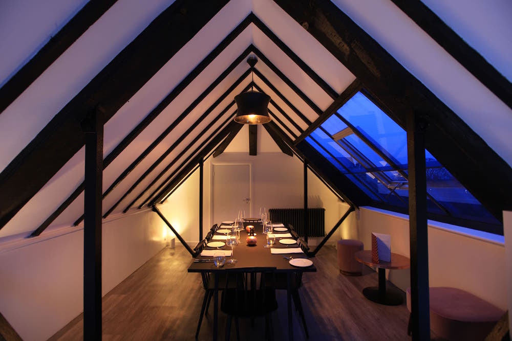 Image caption: LADP Lighting Design's simple yet dramatic lighting scheme inside The Loft Restaurant. | Image credit: The Loft Restaurant