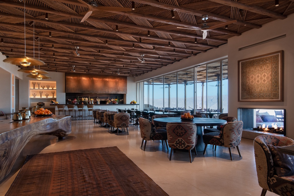 A crafted restaurant that fits in with the design scheme of the Six Senses hotel