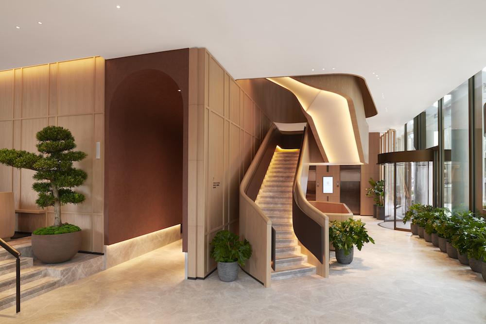A minimalist lobby with plants