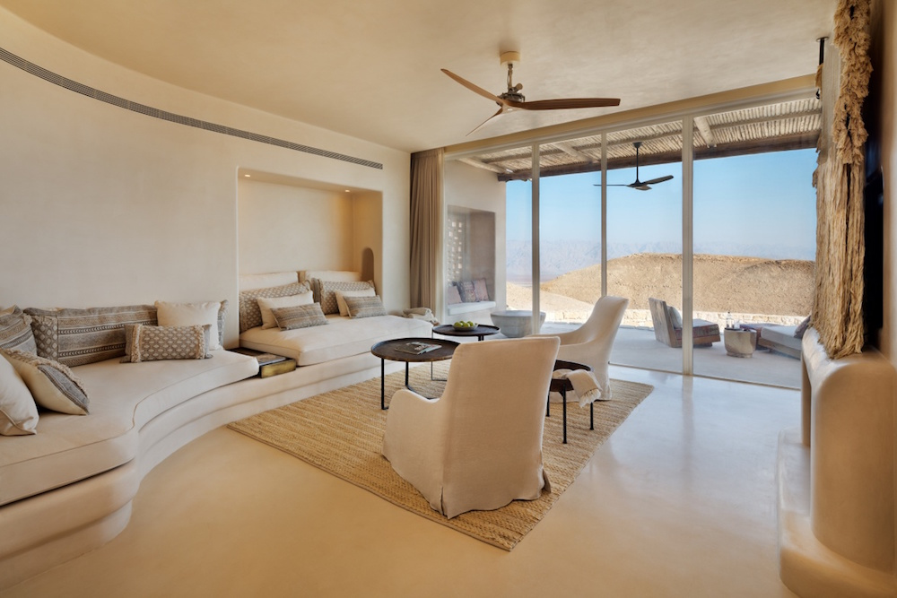 A lounge within the suite at the Six Senses hotel