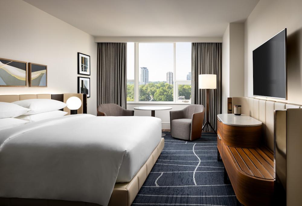 A sophisticated guestroom inside Park Hyatt Toronto