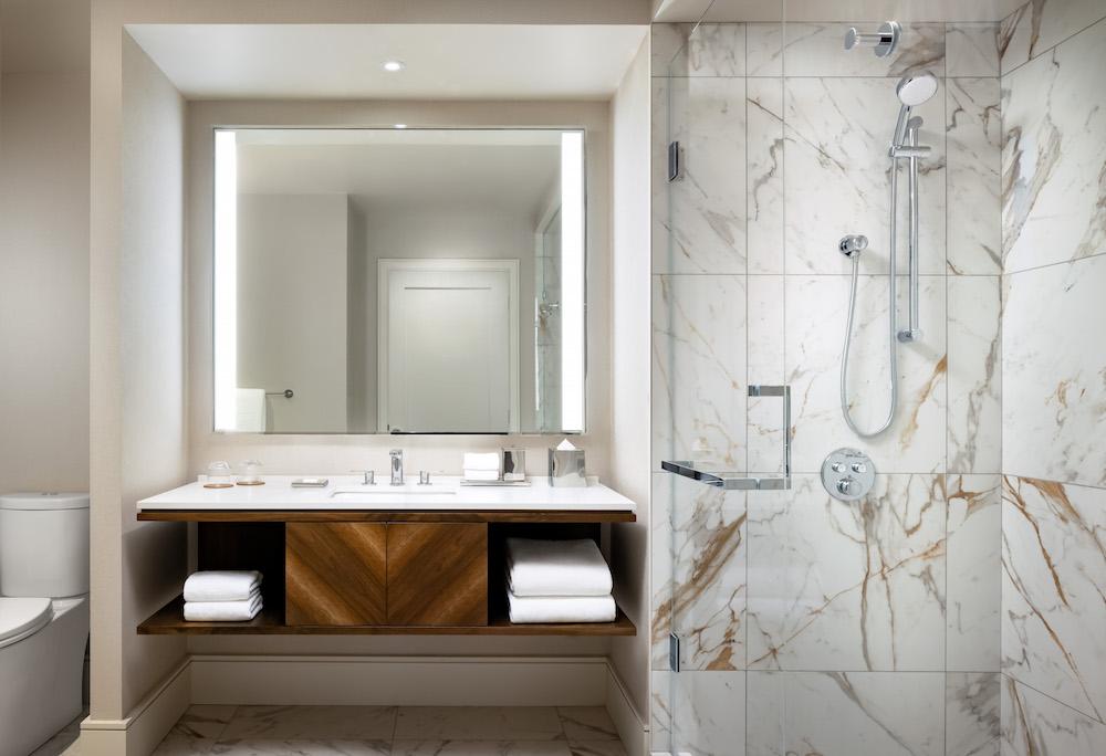 A sophisticated bathroom inside Hyatt Hotel in Toronto