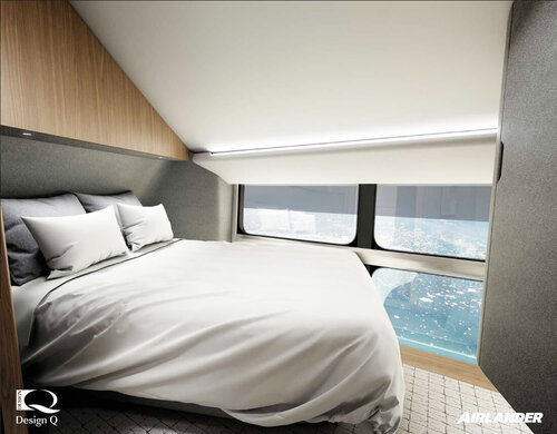 Render of a superyacht in the sky guestroom areas