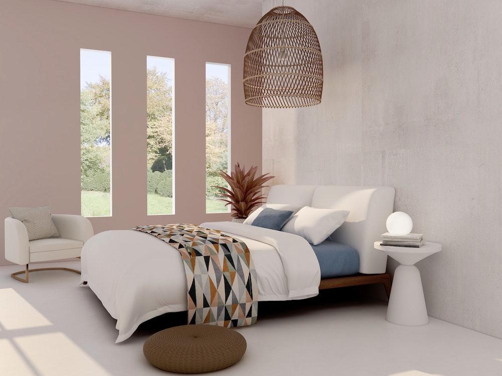 Calm bedroom with pastel interior design scheme