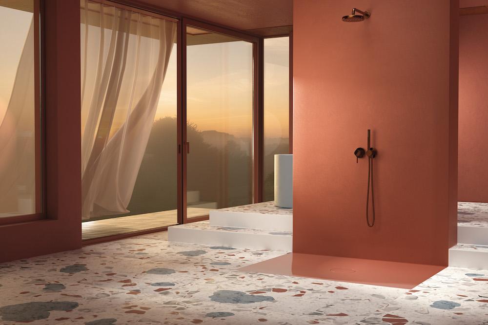Orange room featuring a Bette Air shower