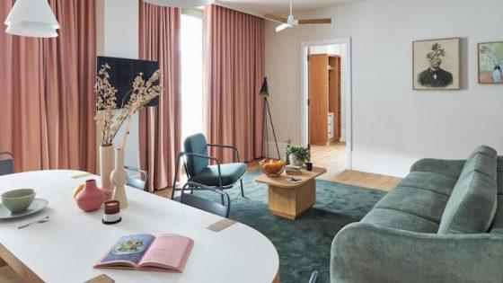 Hotel design | 60's inspired living room inside Turing Locke