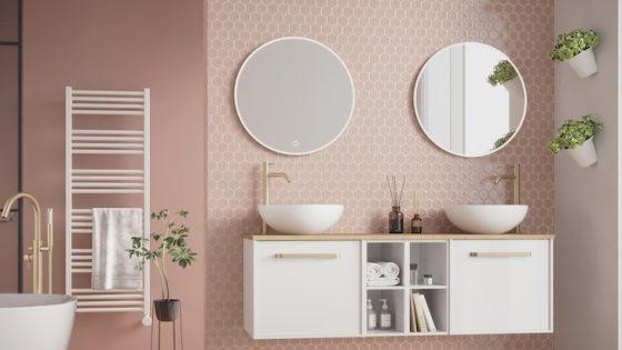 Hotel Designs | A pastel pink bathroom - Crosswater Infinity furniture