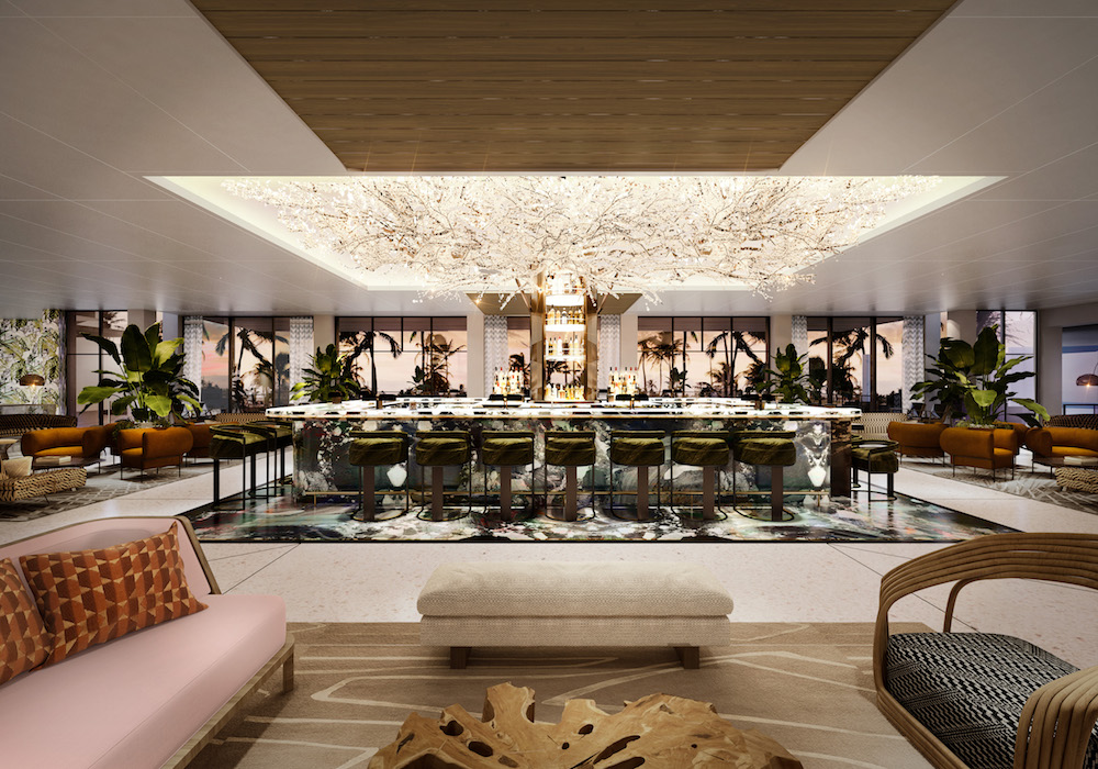 A loud and bold interior design scheme inside golf resort in Palm Springs
