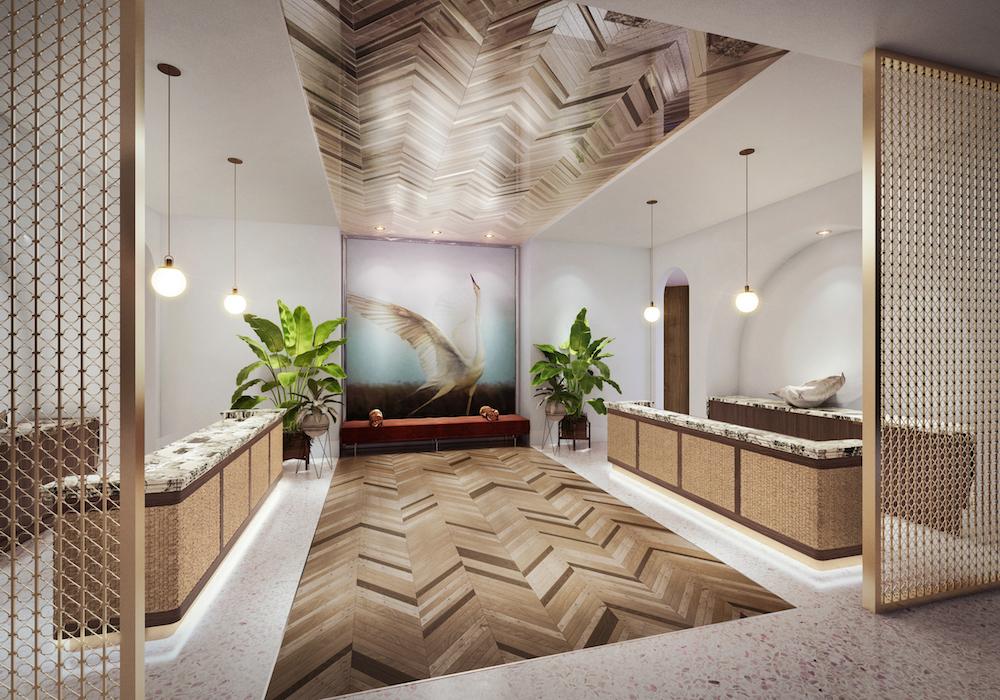 Hotel design | contemporary reception desk inside golf resort in Palm Springs