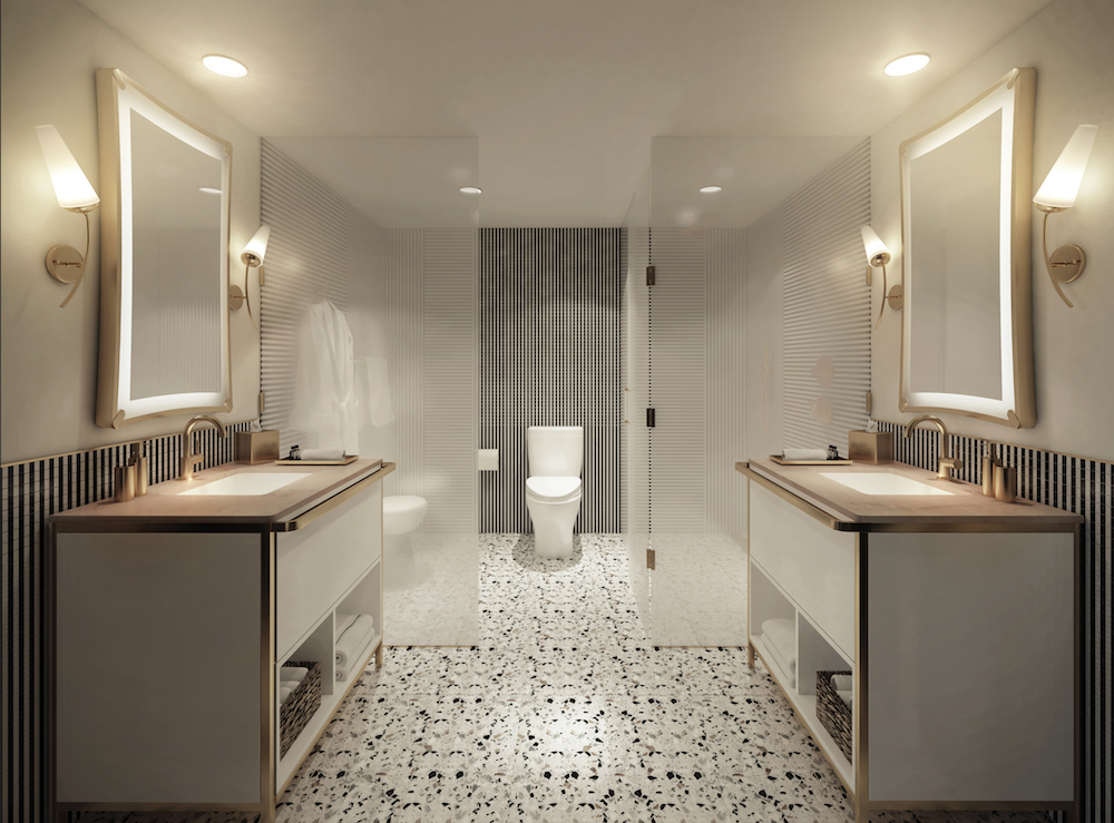 A cool, contemporary bathroom inside golf resort in Palm Springs